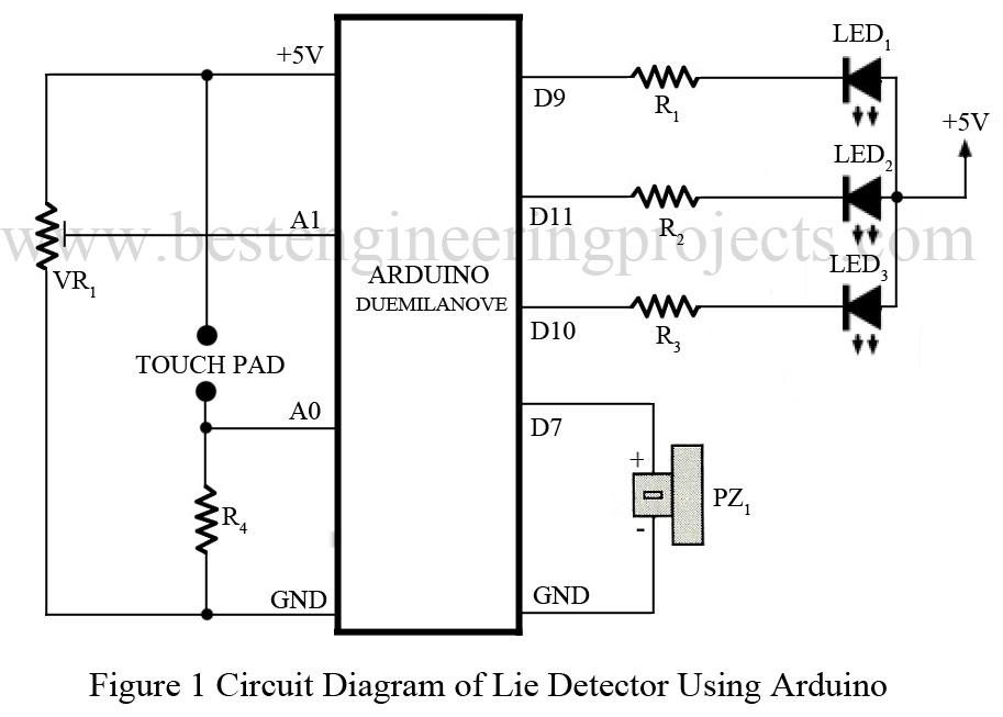 circuit diagram of lie detector using arduino