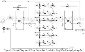 circuit diagram of tone controller for guitar amplifier