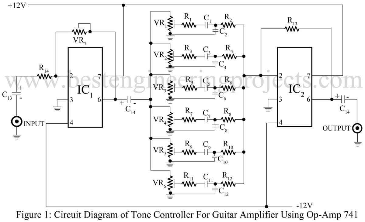 hight resolution of tone control for guitar amplifier using 741