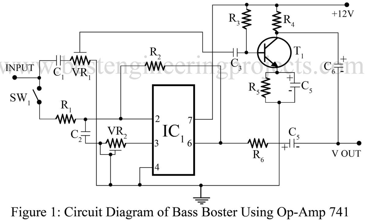 bass booster circuit using op amp 741 ic best engineering projects. Black Bedroom Furniture Sets. Home Design Ideas