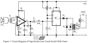 circuit diagram of clap switch cum touch operated switch