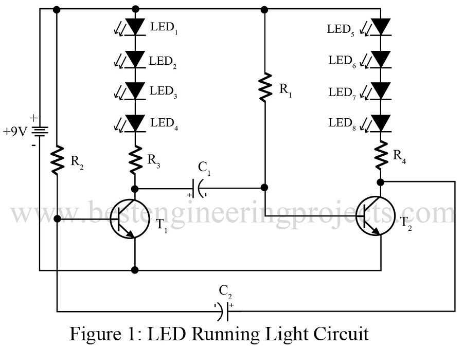 LED running light Circuit | Best Engineering Projects