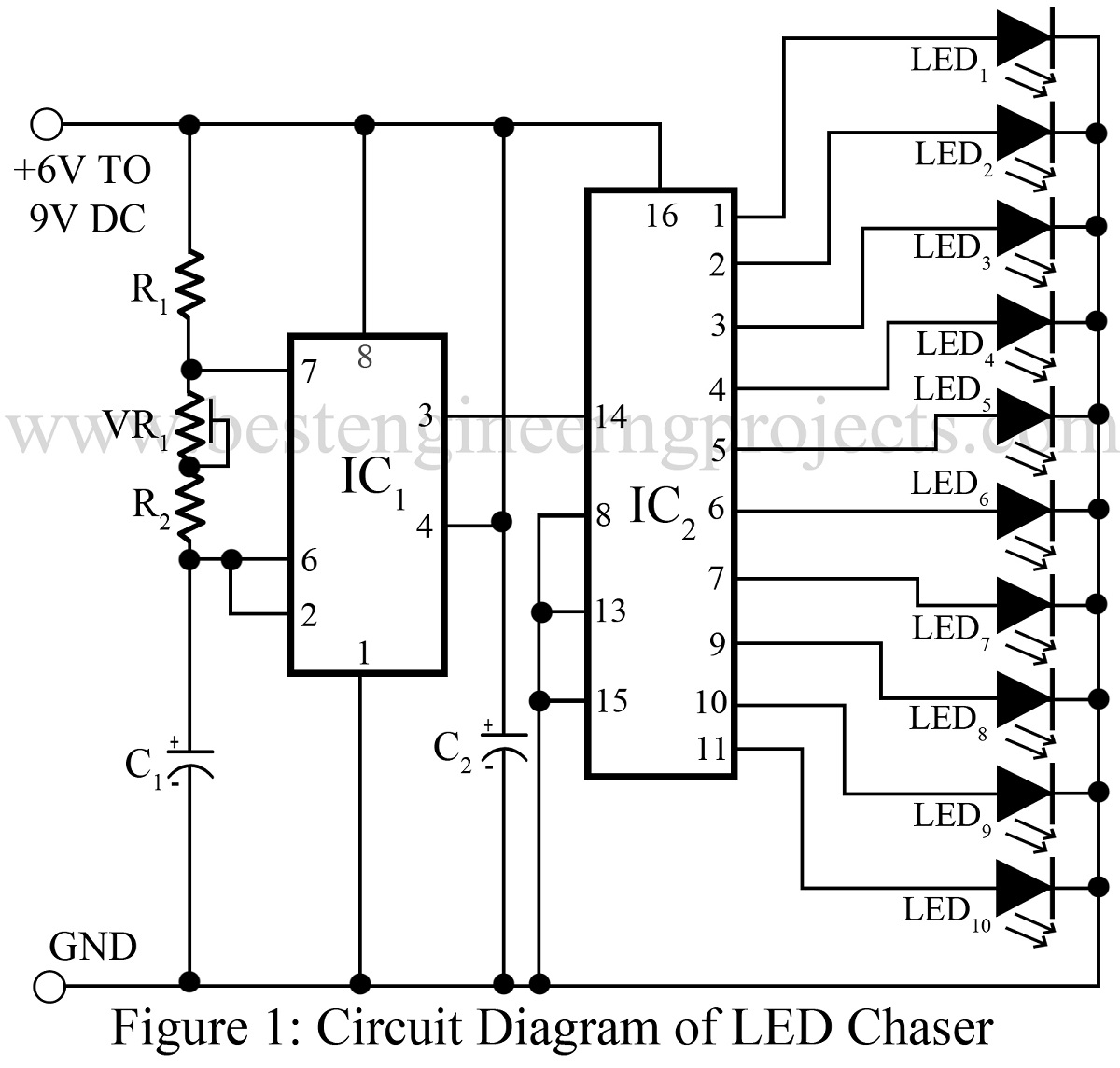 circuit diagram of LED chaser