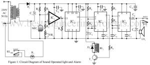 circuit diagram of sound operated light and alarm