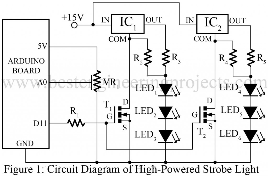 circuit diagram of high powered strobe light using arduino