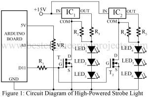 high powered strobe light using arduino circuit diagram