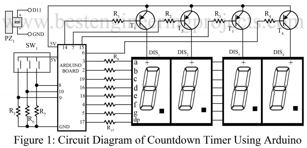 circuit of countdown timer using arduino