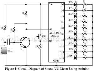 circuit diagram of sound VU meter using arduino