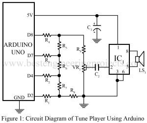 circuit diagram of tune player using arduino