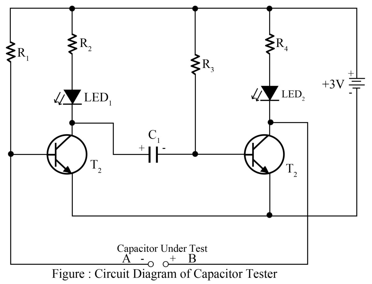 capacitor tester cum flasher best engineering projects rh bestengineeringprojects com schematic diagram capacitor circuit diagram capacitor symbol