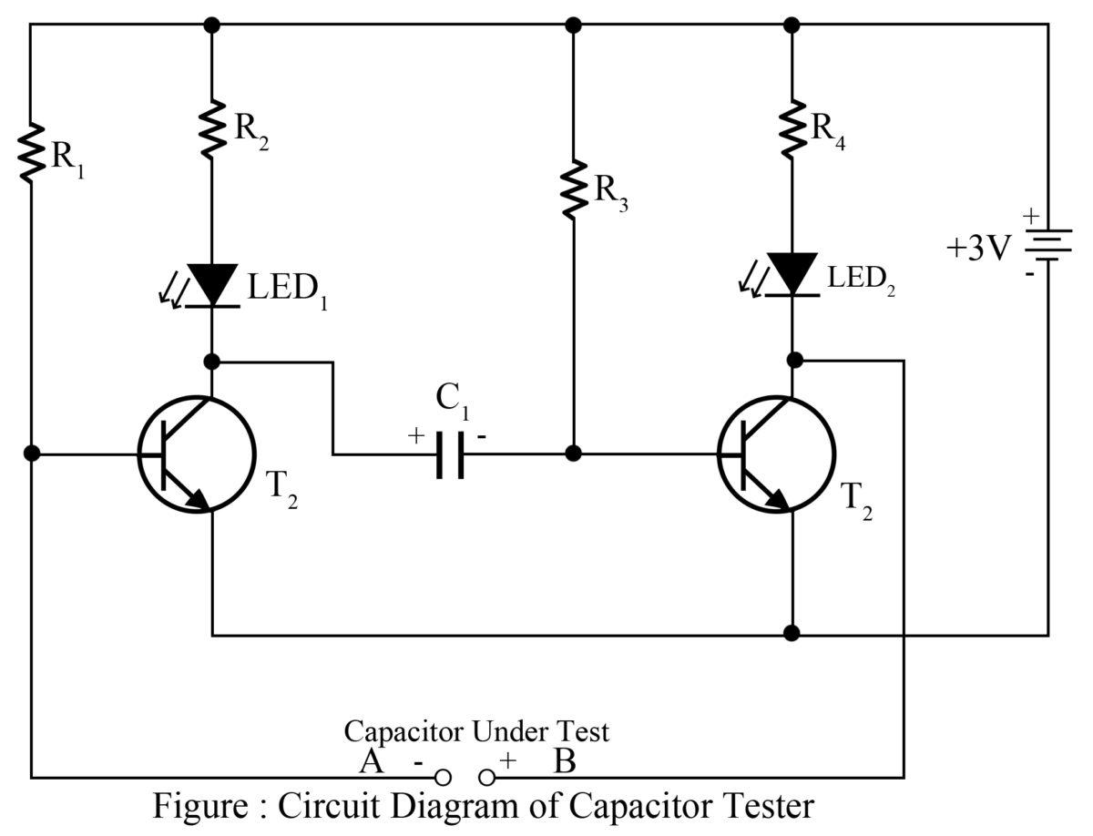 capacitor tester cum flasher best engineering projects rh bestengineeringprojects com digital capacitor meter circuit diagram Capacitor Leakage Tester
