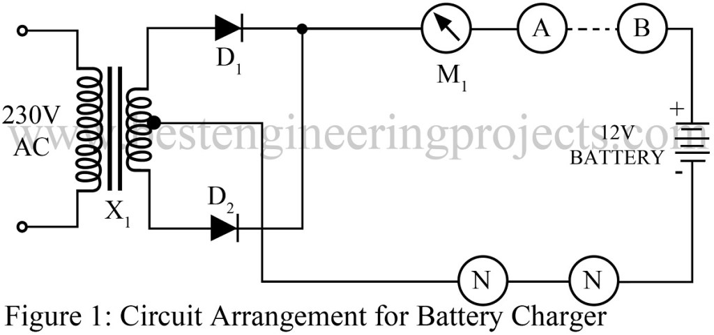 Circuit arrangement for 12V battery charger