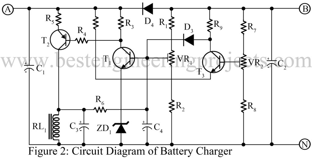 circuit diagram of 12V battery charger