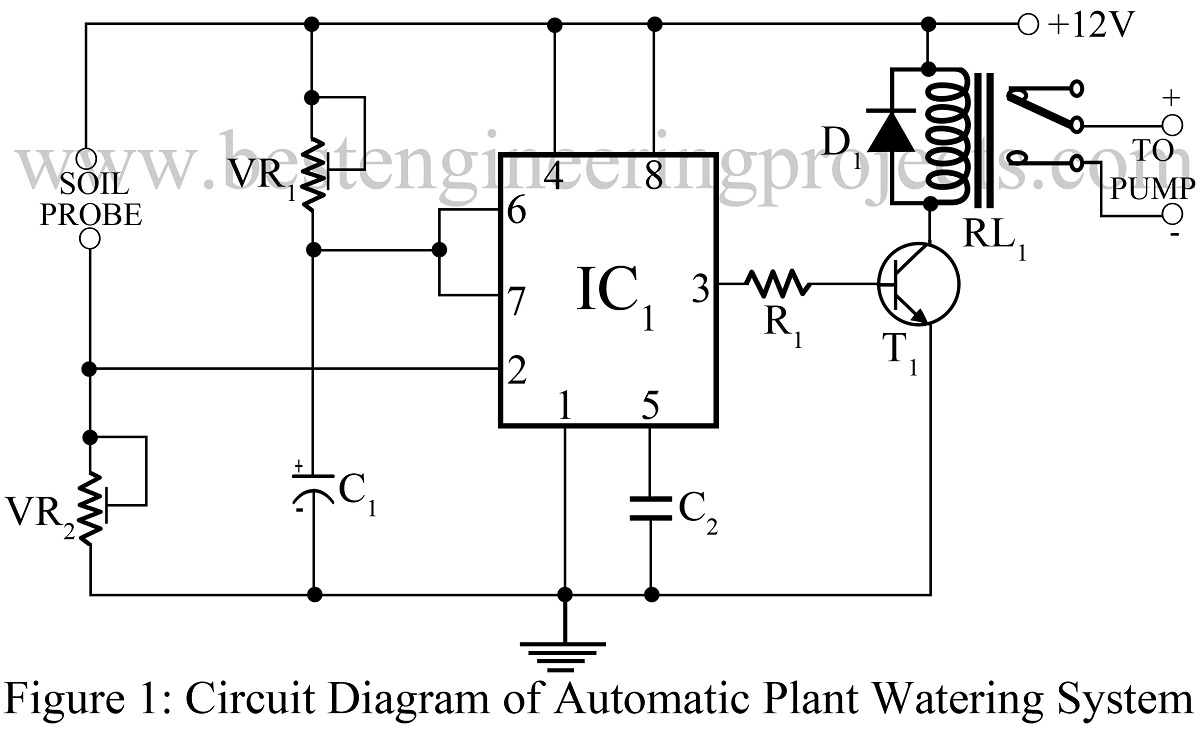 circuit diagram of automatic plant watering system using