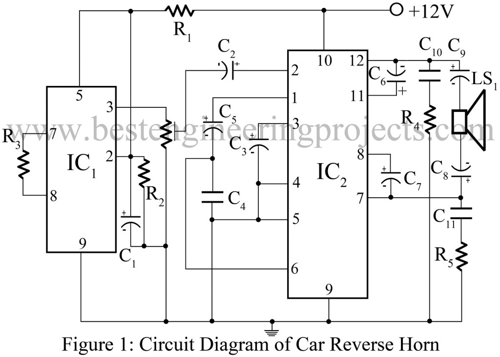 circuit diagram of car reverse horn