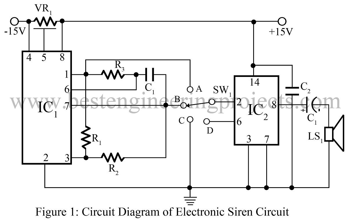 electronic siren circuit best engineering projects rh bestengineeringprojects com Basic Alarm Circuits Diagram Alarm Op-Amp Circuits Diagrams