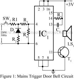 mains trigger musical door bell circuit engineering projects simple door bell circuit diagram door bell circuit diagram [ 1131 x 1200 Pixel ]