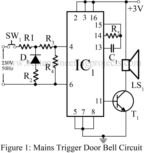 small resolution of mains trigger musical door bell circuit engineering projects simple door bell circuit diagram door bell circuit diagram