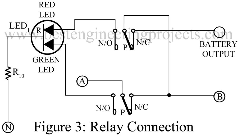 relay connection for 12V battery charger