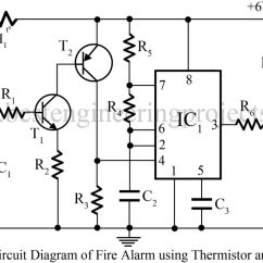 Fire Alarm Schematic Diagram Bosch Relay 12v 30a Wiring Using Thermistor And Ne555