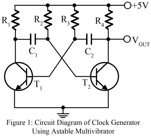 small resolution of clock pulse generator using astable multivibrator