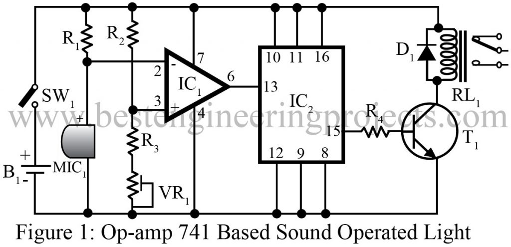 op-amp 741 based sound operated light