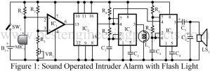 circuit diagram of sound operated intruder alarm with flash