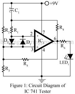 circuit diagram of OP-amp 741 tester