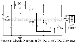 circuit diagram of dual polarity 5 v from 9V