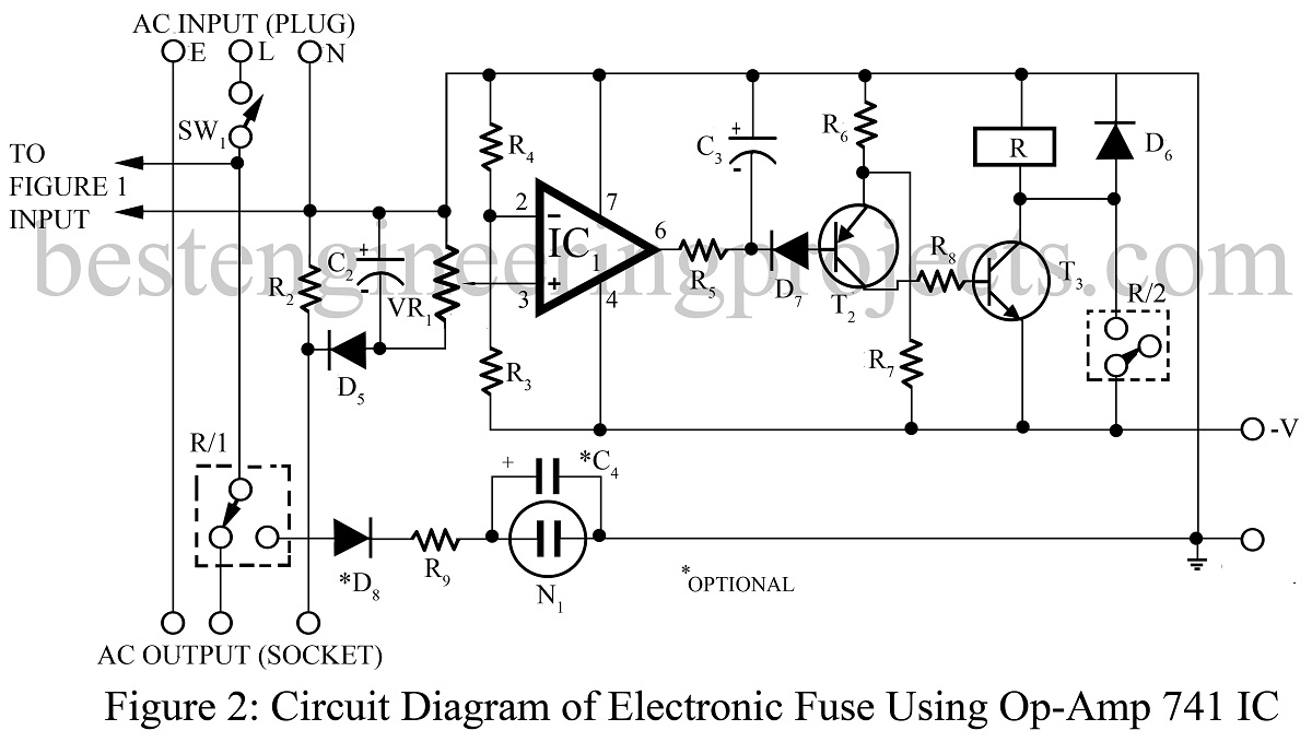 hight resolution of electronic fuse using op amp 741