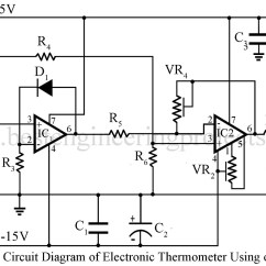 Electronics Mini Projects With Circuit Diagram Wiring For 230 Volt Outlet Thermometer Using Op Amp 741 Ic Engineering