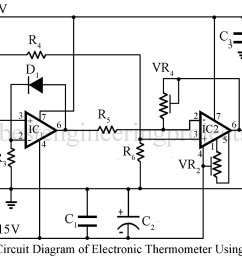electronics thermometer using op amp 741 ic engineering projects figure 1 digital thermometer circuit diagram [ 1200 x 813 Pixel ]