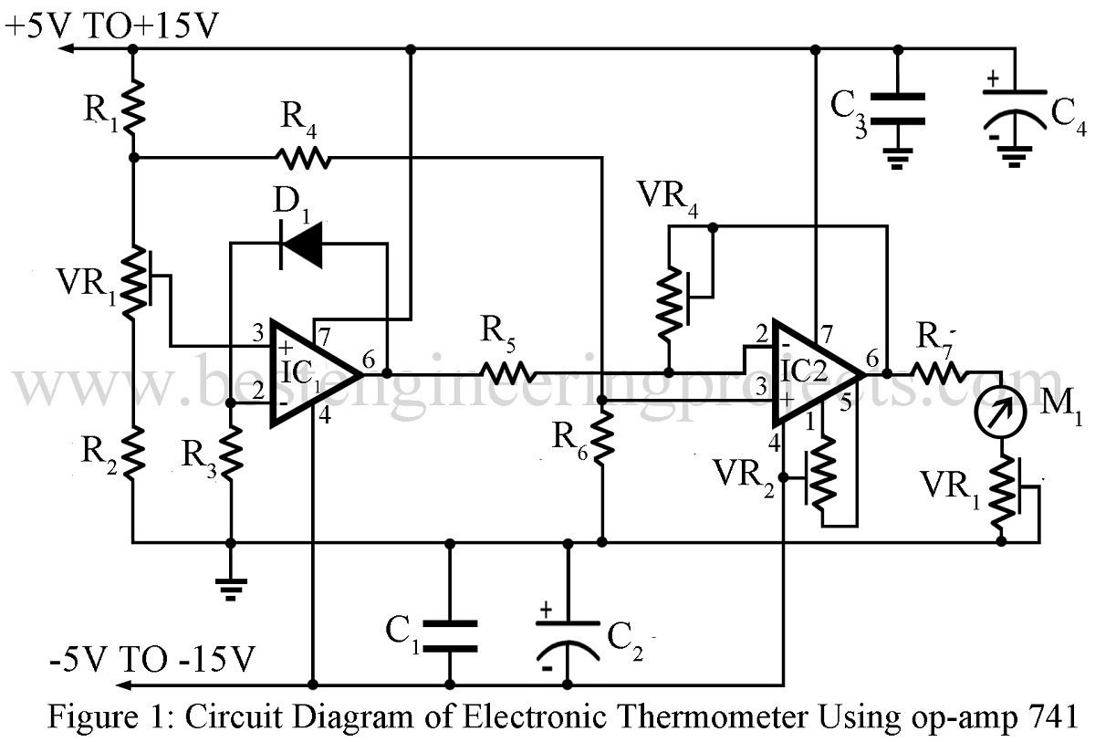 hight resolution of electronics thermometer using op amp 741 ic engineering projects figure 1 digital thermometer circuit diagram