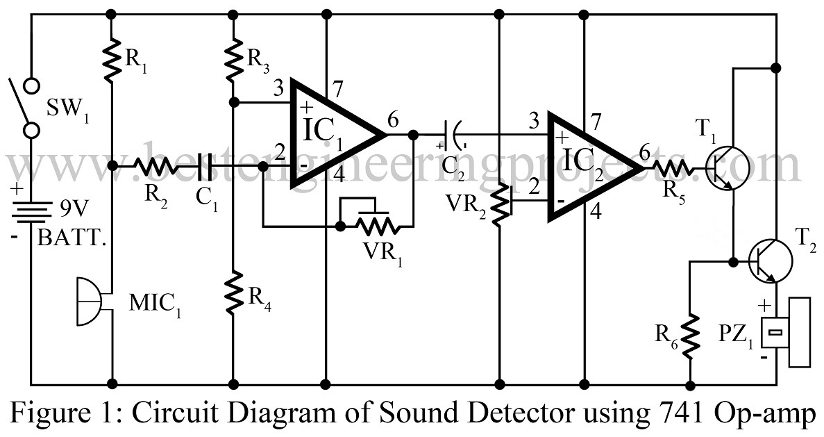 Audio mixer using op amp 741