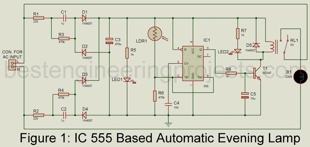 automatic evening lamp using 555