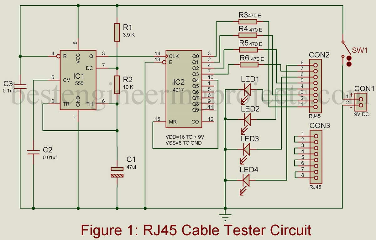 rj45 cable tester circuit best engineering projects. Black Bedroom Furniture Sets. Home Design Ideas
