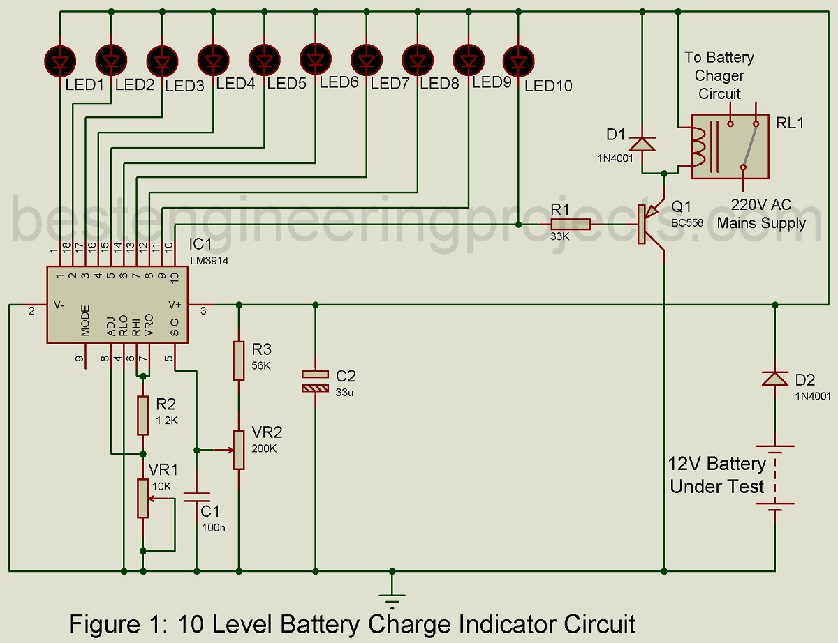 hight resolution of battery level indicator circuit diagram data schematic diagram led dot display based battery charge level indicator circuit diagram
