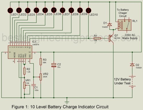 small resolution of battery level indicator circuit diagram data schematic diagram led dot display based battery charge level indicator circuit diagram