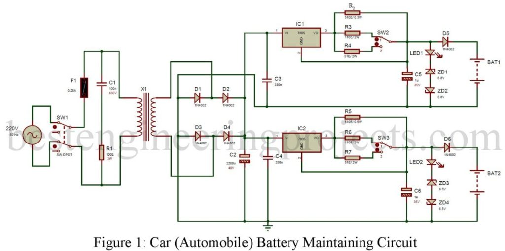 car battery maintaining circuit