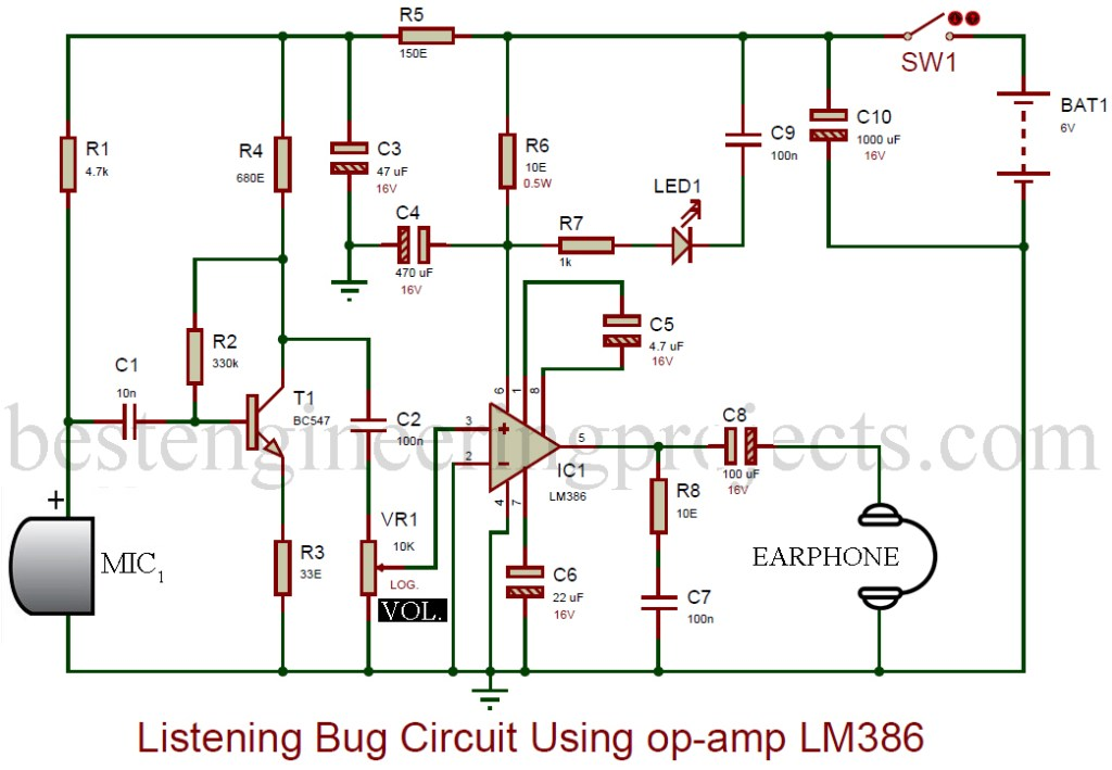 listening bug circuit using op-amp lm386