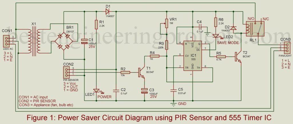 pir sensor based power saver circuit