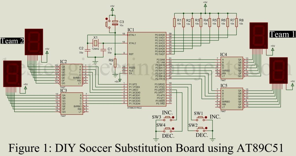 diy soccer substitution board using at89c51