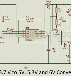 one terminal con1 of the circuit is fed with the 3 7 dc voltage the project operating voltage range lies in between the range of 3v to 40v  [ 1200 x 676 Pixel ]