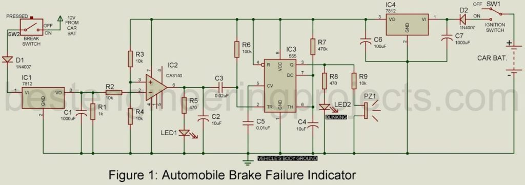 automatic brake failure indicator circuit