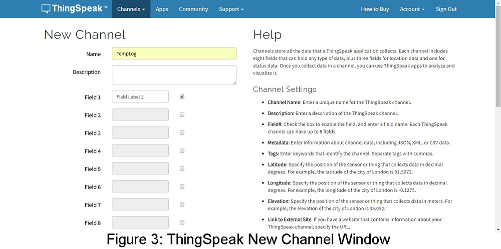 new channel thingspeak window