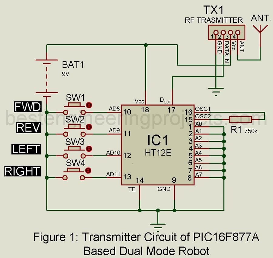 transmitter circuit of dual mode robot