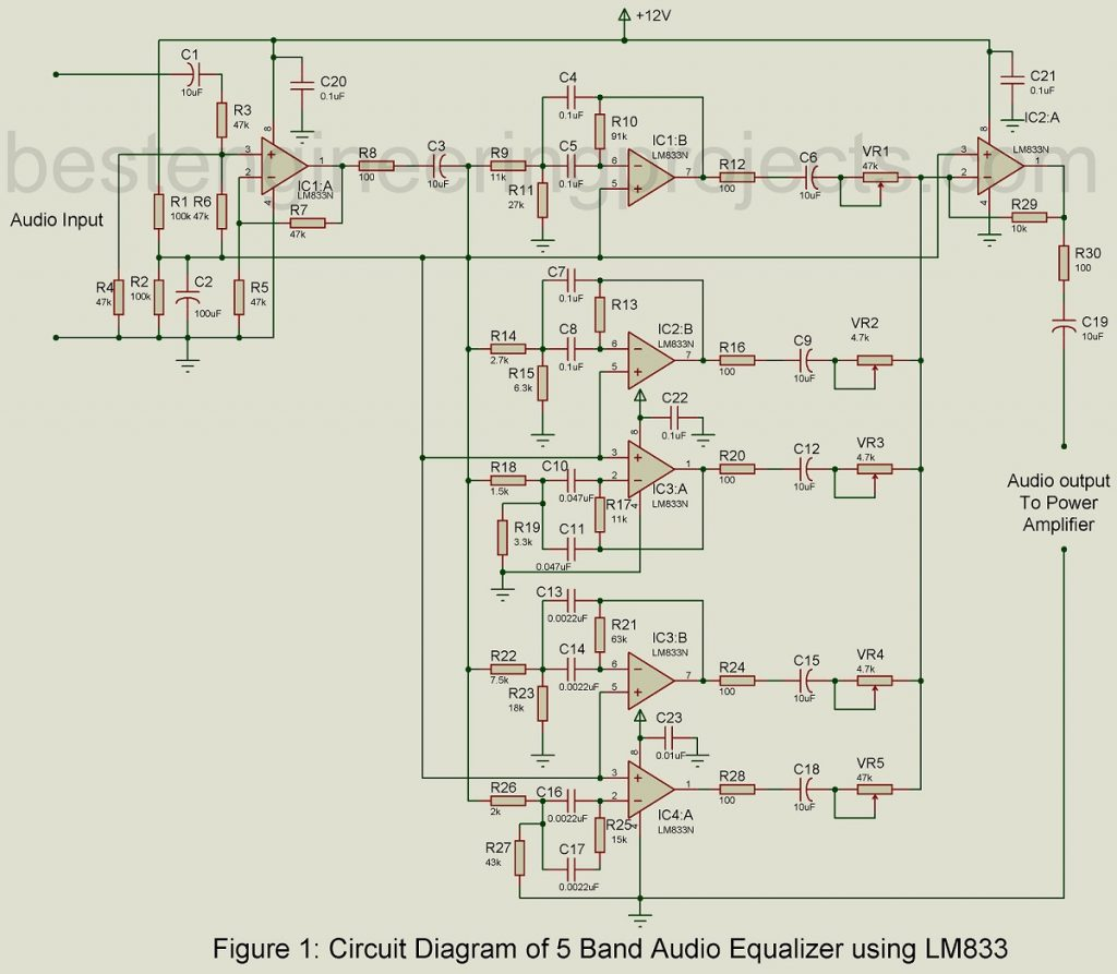 hight resolution of 5 band audio equalizer circuit using lm833