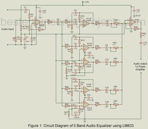 small resolution of 5 band audio equalizer circuit using lm833