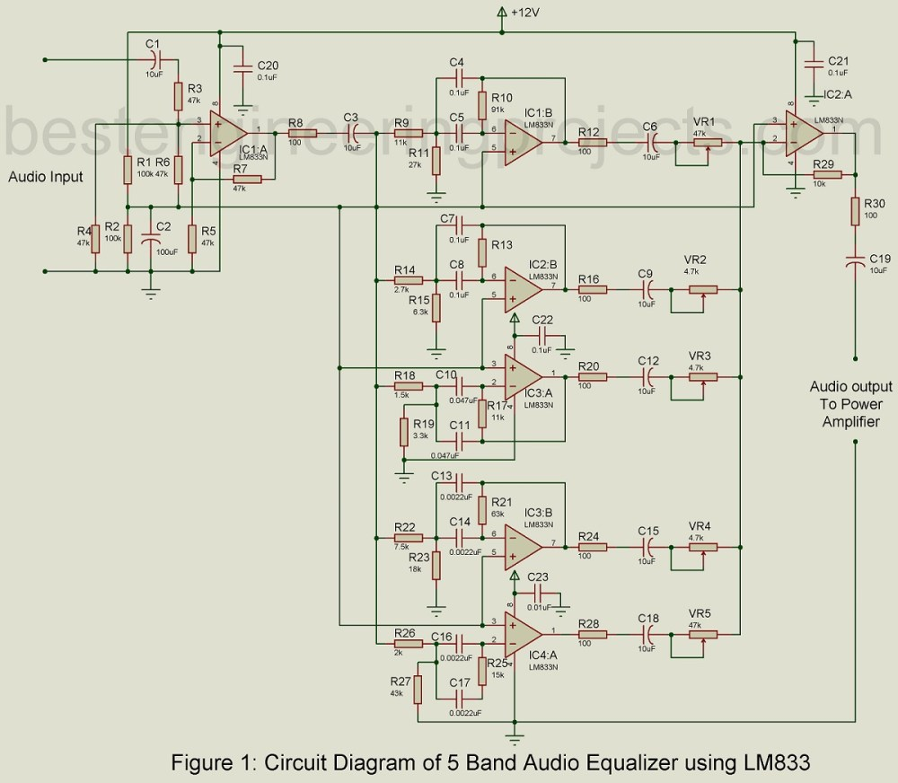 medium resolution of also lifier circuit diagram also 10 band graphic equalizer circuit 5 band audio equalizer circuit using