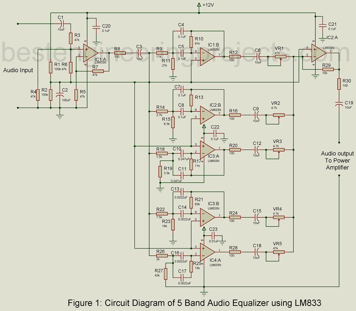 hight resolution of also lifier circuit diagram also 10 band graphic equalizer circuit 5 band audio equalizer circuit using